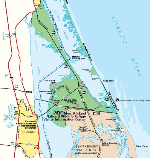 Merritt Island Nwr Map Space Coast Florida