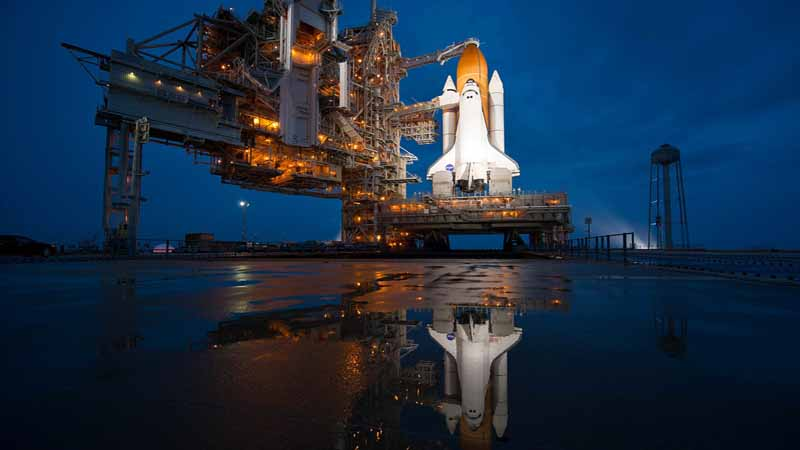 Space Shuttle on the launch pad