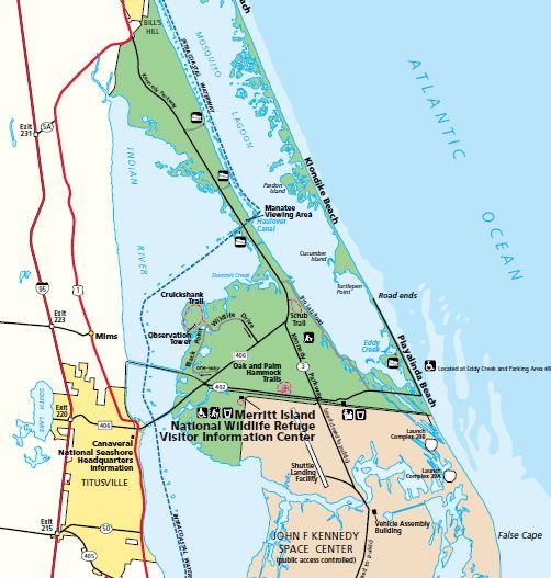 Merritt Island National Wildlife Refuge Map Merritt Island NWR Map   Space Coast Florida
